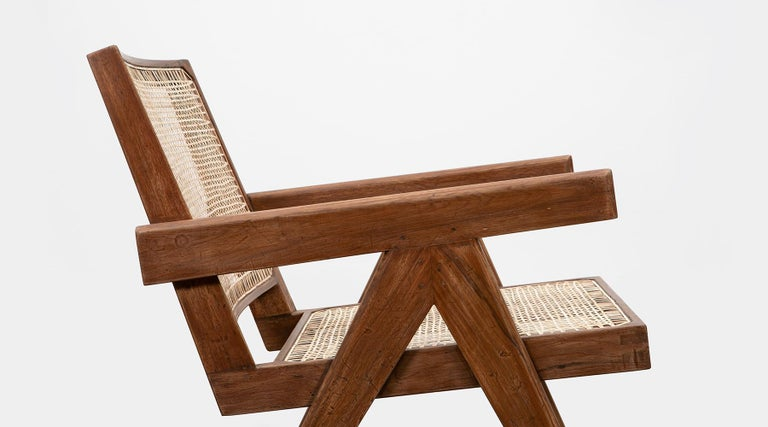 1950s Brown Wooden Teak and Cane Lounge Chairs by Pierre Jeanneret 'f' 10
