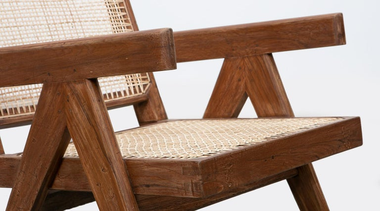 1950s Brown Wooden Teak and Cane Lounge Chairs by Pierre Jeanneret 'f' 11