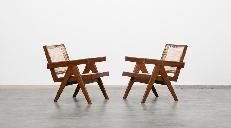 Mid-Century Modern 1950s Brown Wooden Teak and Cane Lounge Chairs by Pierre Jeanneret 'f'