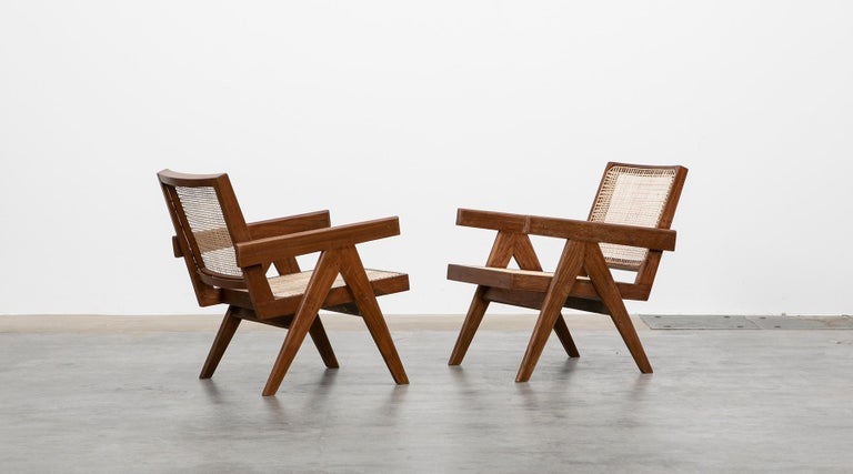 Indian 1950s Brown Wooden Teak and Cane Lounge Chairs by Pierre Jeanneret 'f'