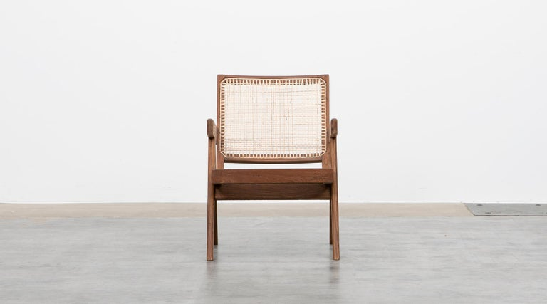 1950s Brown Wooden Teak and Cane Lounge Chairs by Pierre Jeanneret 'f' In Good Condition In Frankfurt, Hessen, DE