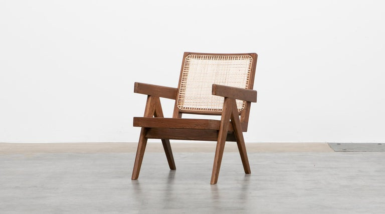 Mid-20th Century 1950s Brown Wooden Teak and Cane Lounge Chairs by Pierre Jeanneret 'f'