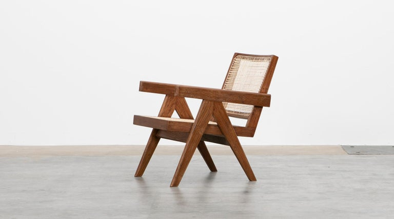 1950s Brown Wooden Teak and Cane Lounge Chairs by Pierre Jeanneret 'f' 1