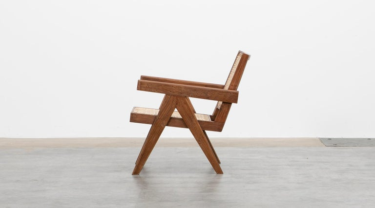 1950s Brown Wooden Teak and Cane Lounge Chairs by Pierre Jeanneret 'f' 2