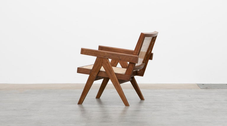 1950s Brown Wooden Teak and Cane Lounge Chairs by Pierre Jeanneret 'f' 3
