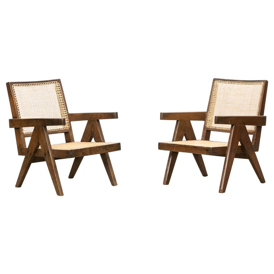 1950s Brown Wooden Teak and Cane Lounge Chairs by Pierre Jeanneret 'h'