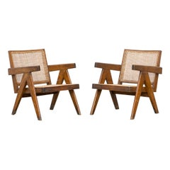 1950s Brown Wooden Teak and Cane Lounge Chairs by Pierre Jeanneret 'k'