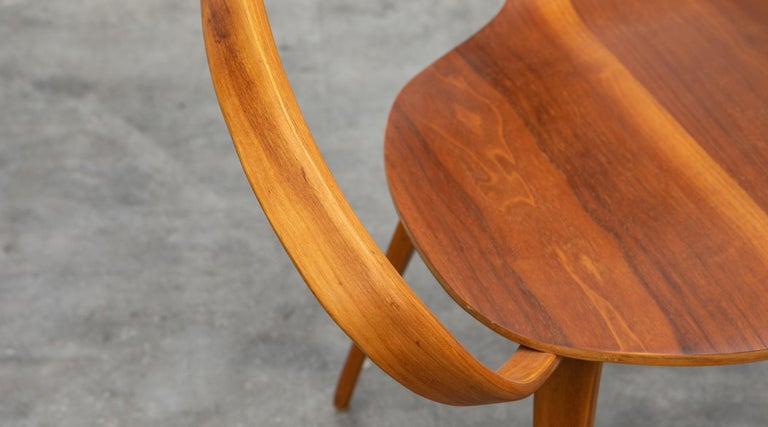 1950s Brown Wooden Walnut Plywood Chair by Norman Cherner 'b' For Sale 4