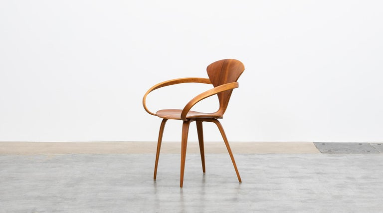 Mid-Century Modern 1950s Brown Wooden Walnut Plywood Chair by Norman Cherner 'b' For Sale