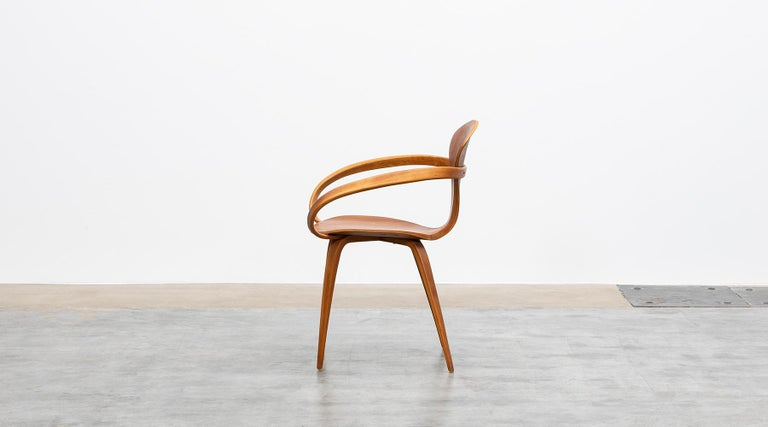 American 1950s Brown Wooden Walnut Plywood Chair by Norman Cherner 'b' For Sale