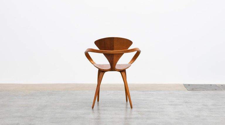 1950s Brown Wooden Walnut Plywood Chair by Norman Cherner 'b' For Sale 1