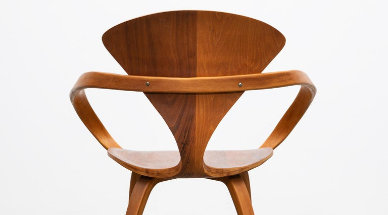 1950s Brown Wooden Walnut Plywood Chair by Norman Cherner 'b' For Sale 2