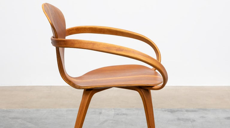 1950s Brown Wooden Walnut Plywood Chair by Norman Cherner 'b' For Sale 3