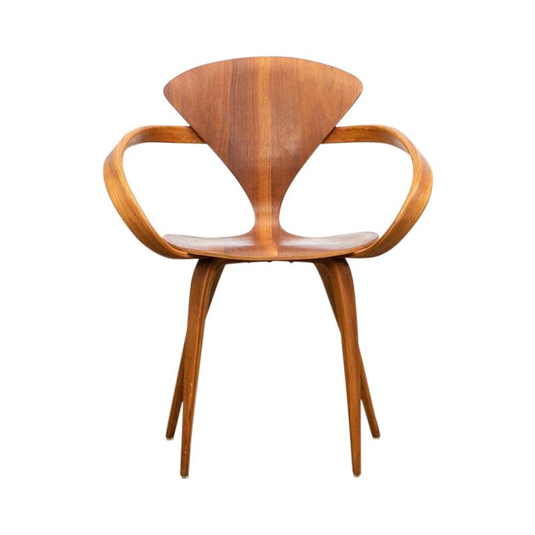 1950s Brown Wooden Walnut Plywood Chair by Norman Cherner 'b' For Sale