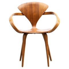 1950s Brown Wooden Walnut Plywood Chair by Norman Cherner