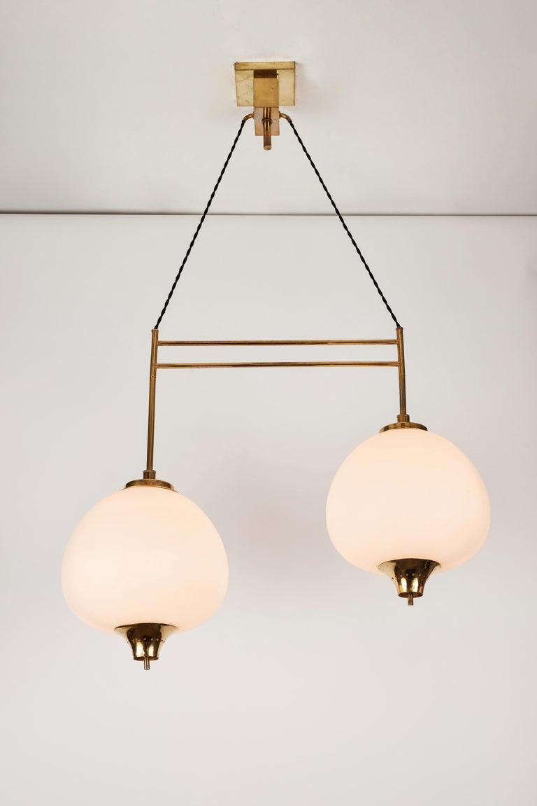 Mid-Century Modern 1950s Bruno Chiarini Double Pendant Suspension Lamp for Stilnovo For Sale