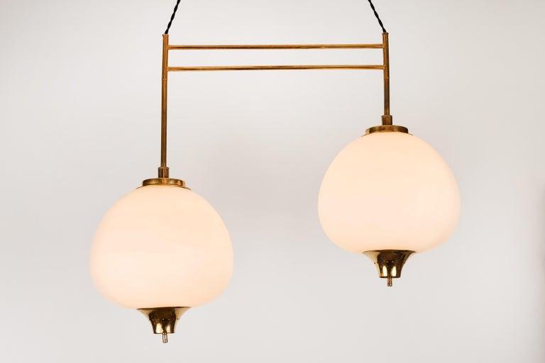 Italian 1950s Bruno Chiarini Double Pendant Suspension Lamp for Stilnovo For Sale