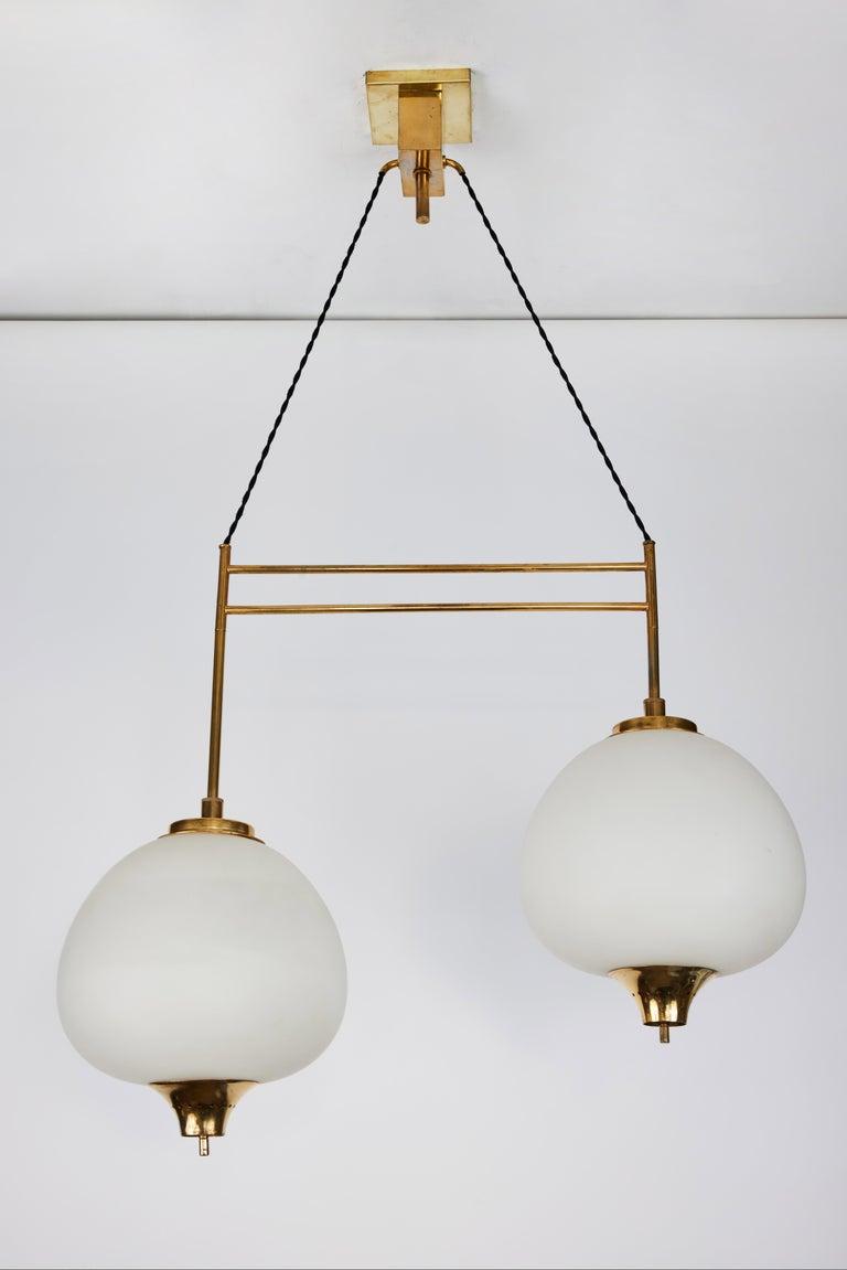 1950s Bruno Chiarini Double Pendant Suspension Lamp for Stilnovo In Good Condition For Sale In Glendale, CA