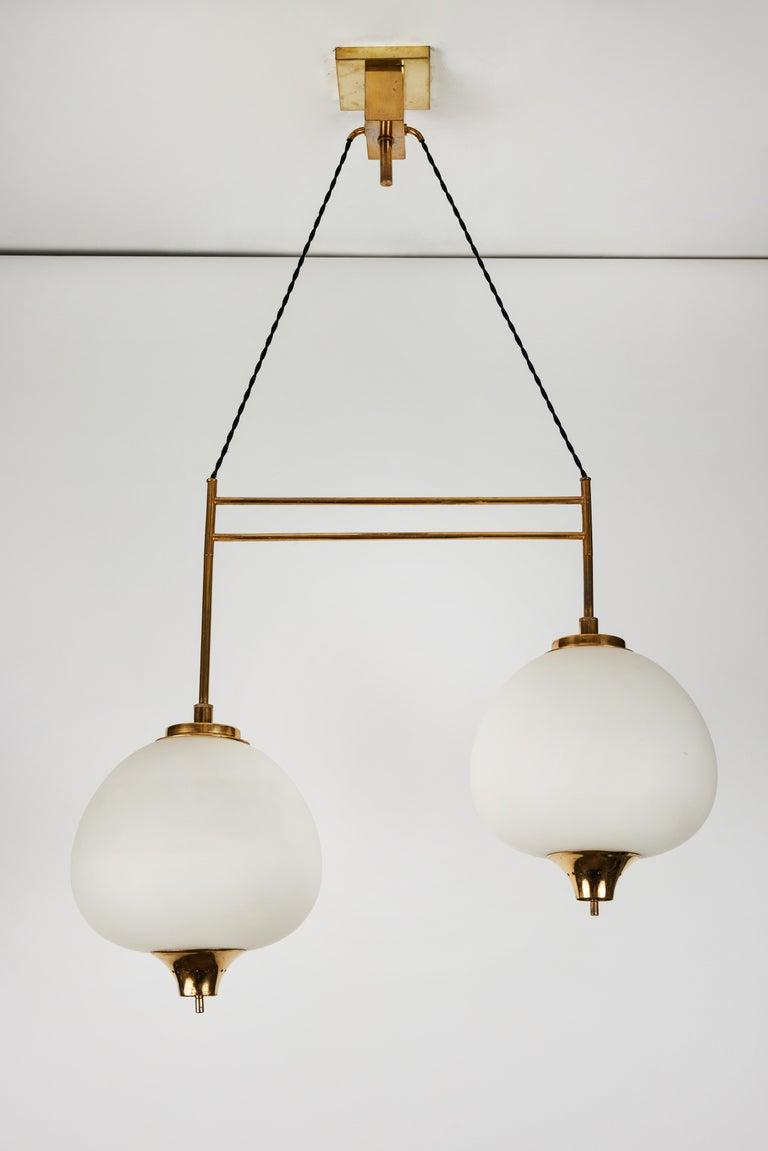 Mid-20th Century 1950s Bruno Chiarini Double Pendant Suspension Lamp for Stilnovo For Sale