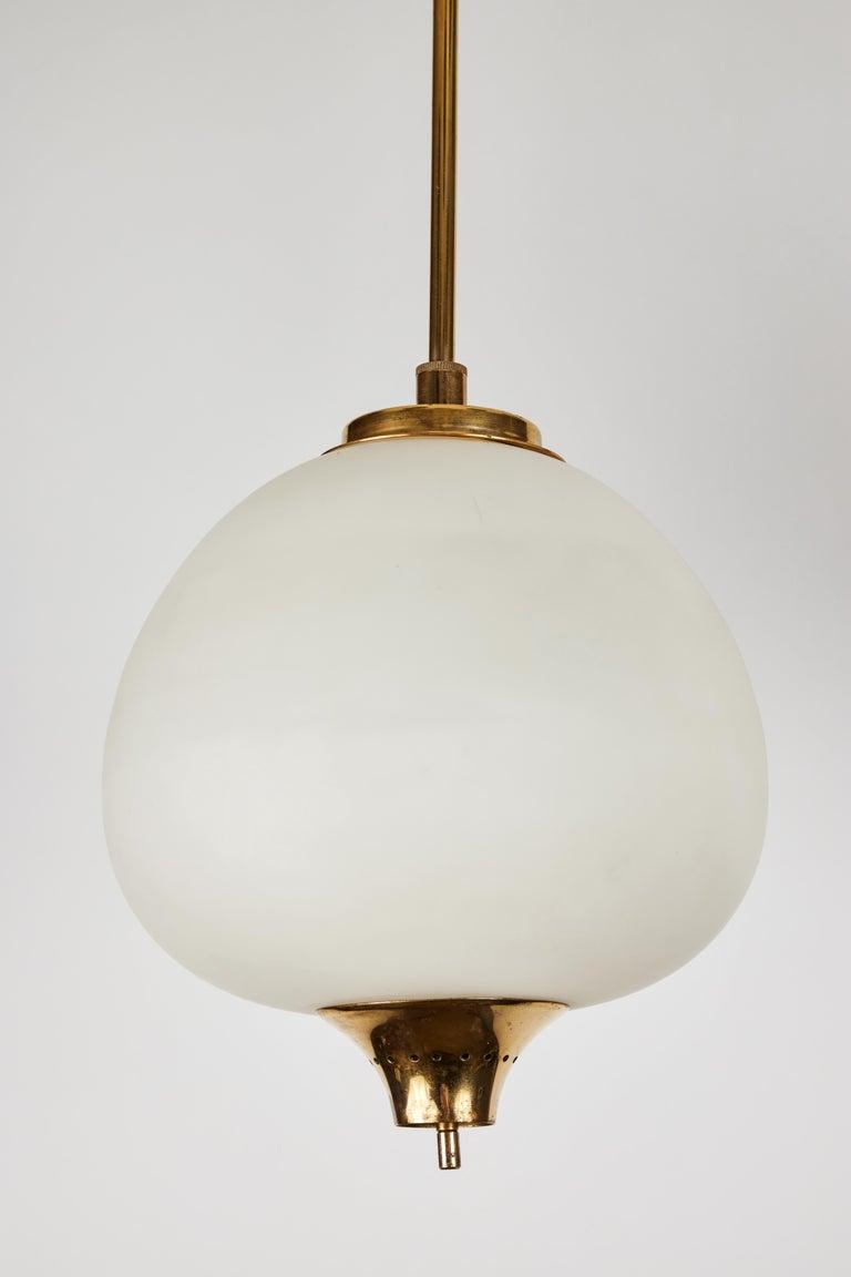 Brass 1950s Bruno Chiarini Double Pendant Suspension Lamp for Stilnovo For Sale