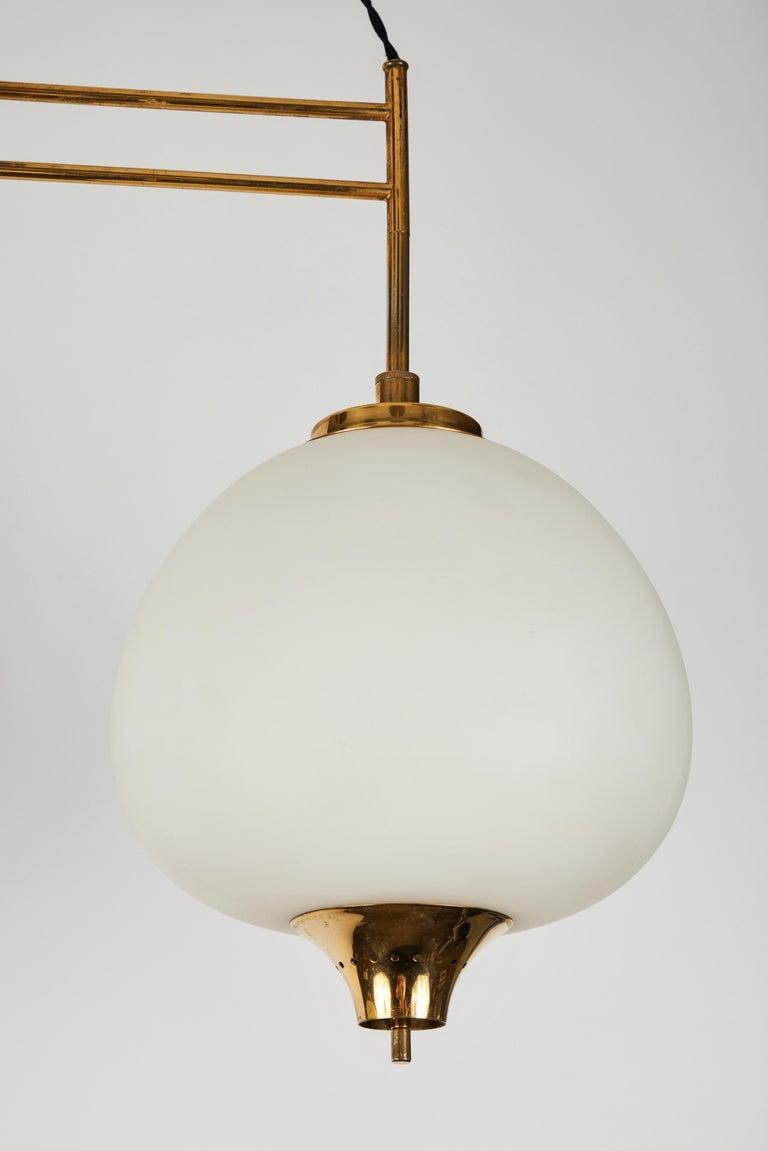 1950s Bruno Chiarini Double Pendant Suspension Lamp for Stilnovo For Sale 1