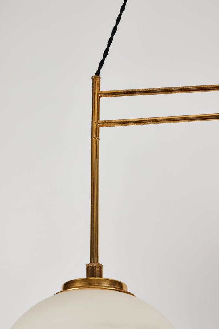 1950s Bruno Chiarini Double Pendant Suspension Lamp for Stilnovo For Sale 2