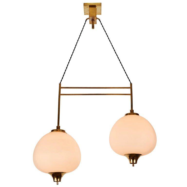 1950s Bruno Chiarini Double Pendant Suspension Lamp for Stilnovo For Sale