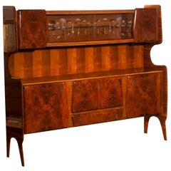 1950s, Buffet Cabinet in Burl Wood and Walnut by Vittorio Dassi, Italy