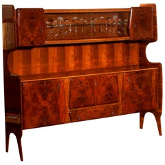 1950s Buffet Cabinet in Burl Wood and Walnut by Vittorio Dassi, Italy