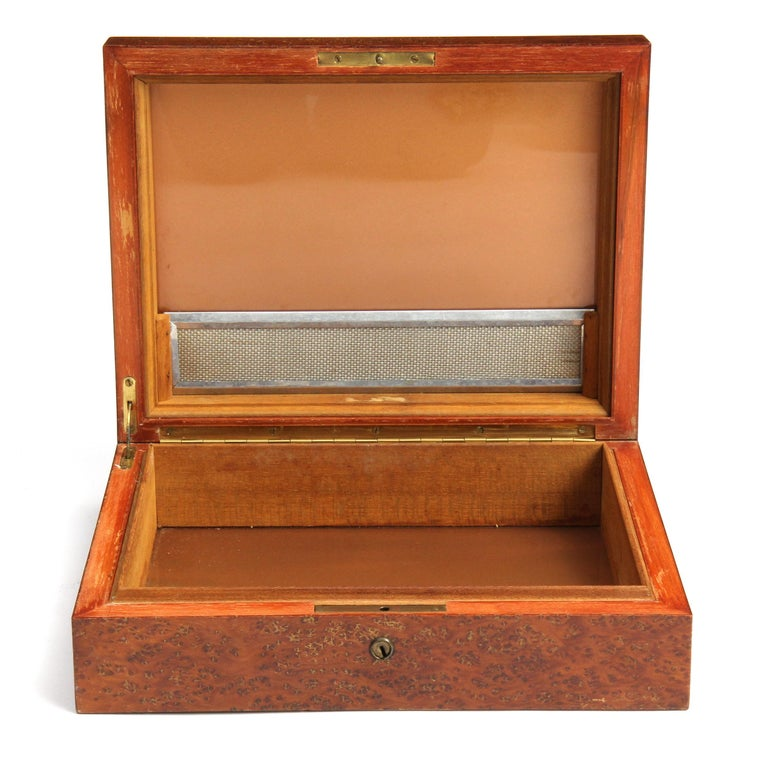 American Craftsman 1950s Burled Maple Humidor For Sale