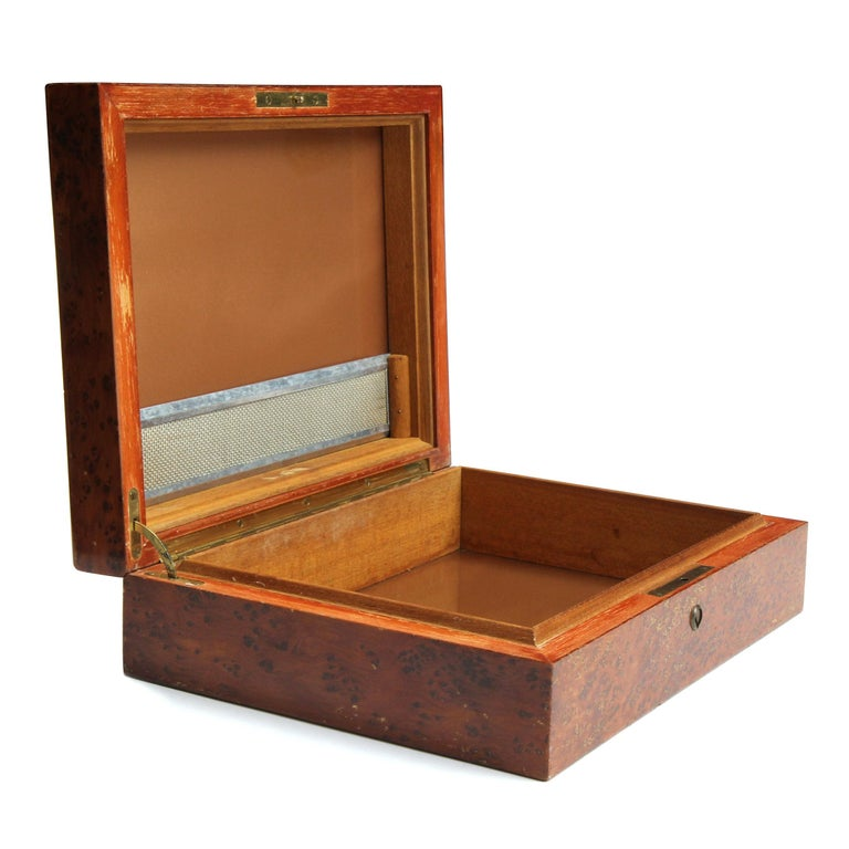 American 1950s Burled Maple Humidor For Sale