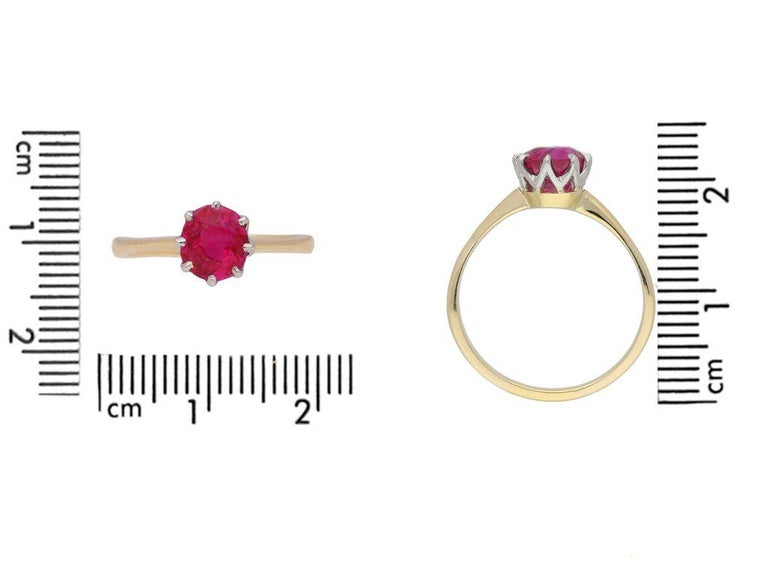 Women's 1950s Burmese Natural Unenhanced Ruby Gold Platinum Engagement Ring For Sale