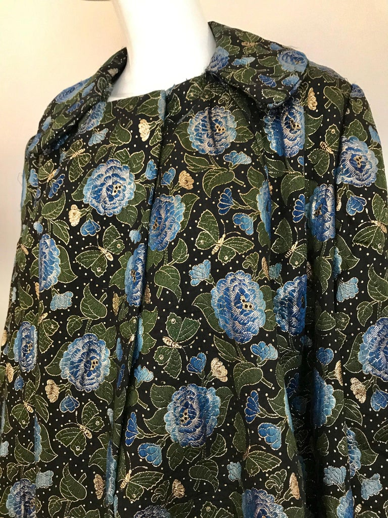 Women's  1950s Green and Blue Butterfly Print Brocade  Coat For Sale