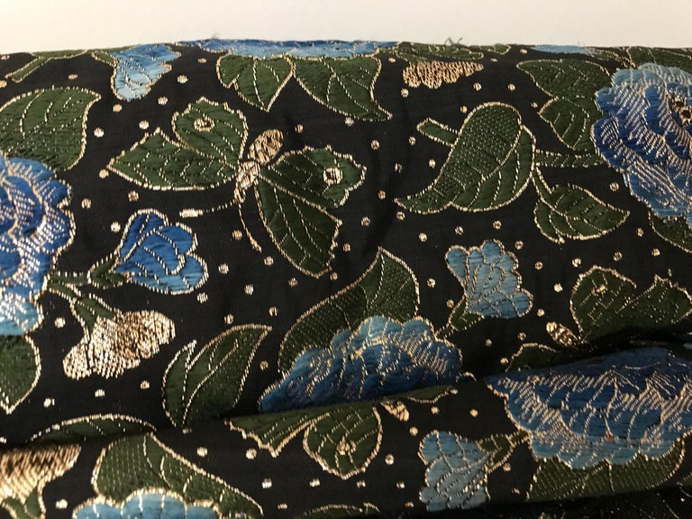1950s Green and Blue Butterfly Print Brocade  Coat In Good Condition For Sale In Beverly Hills, CA