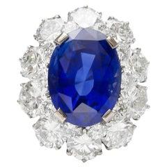 1950s Bvlgari AGL Ceylon Sapphire and Diamonds Ring