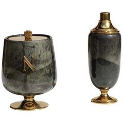 1950s by Aldo Tura Italian Midcentury Lacquered Goatskin Ice Bucket and Shaker