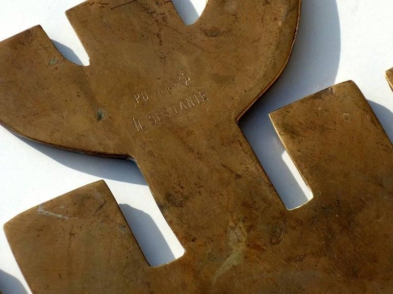 1950s by Arnaldo Gio Pomodoro Il Sestante Italian Midcentury Bronze Sculptures For Sale 1