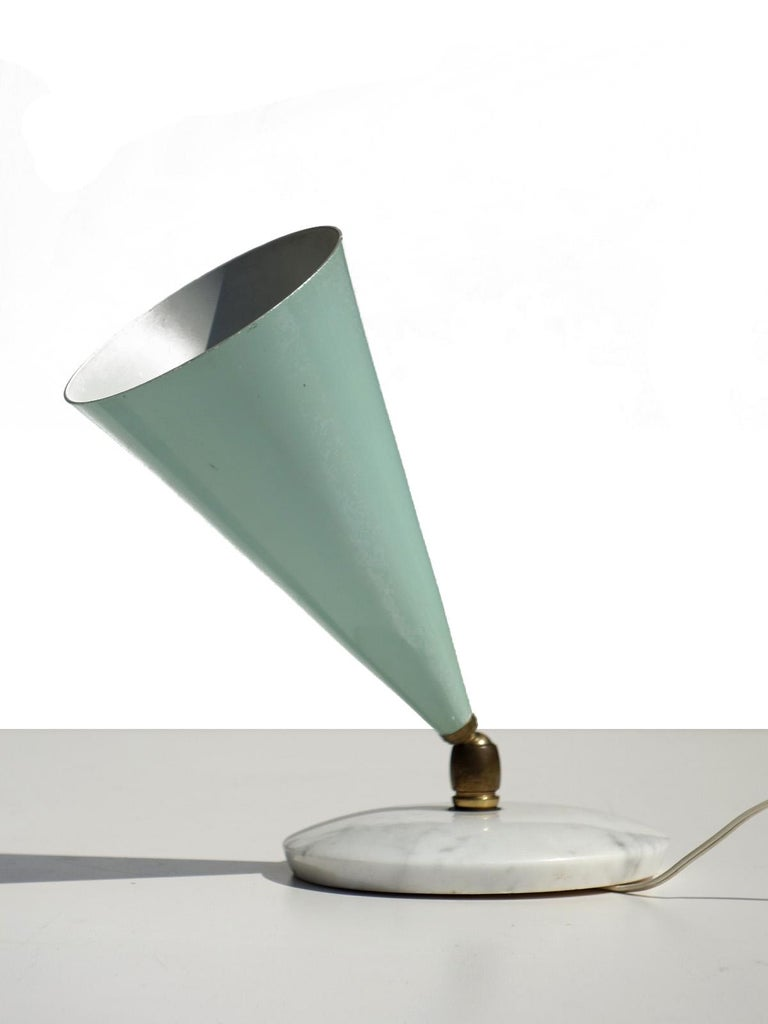Table lamp by Arredoluce Italy, 1950.  Aluminium shade and marble base Excellent condition Perfect working order.