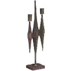 1950s by Gallinaro Brutalist Italian Design Metal Candleholder