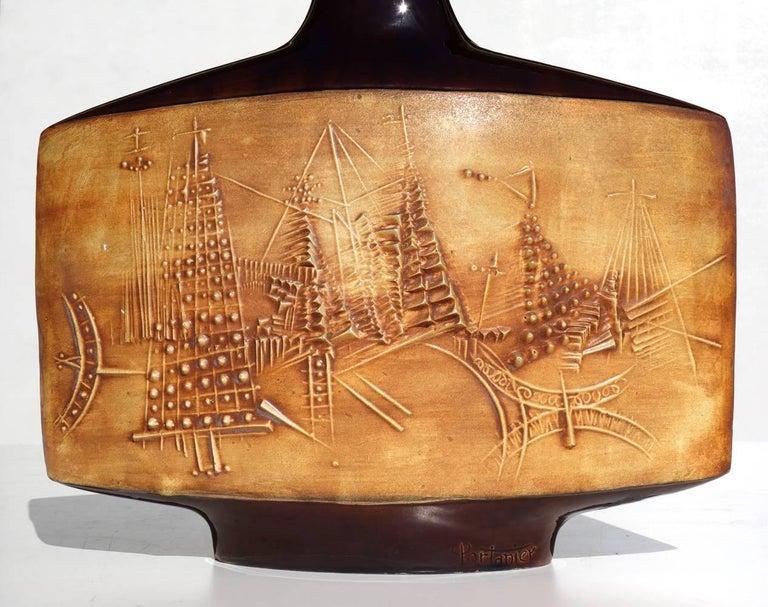 Mid-20th Century 1950s by Gilbert Portanier Vallauris France Glazed Ceramic Vase For Sale