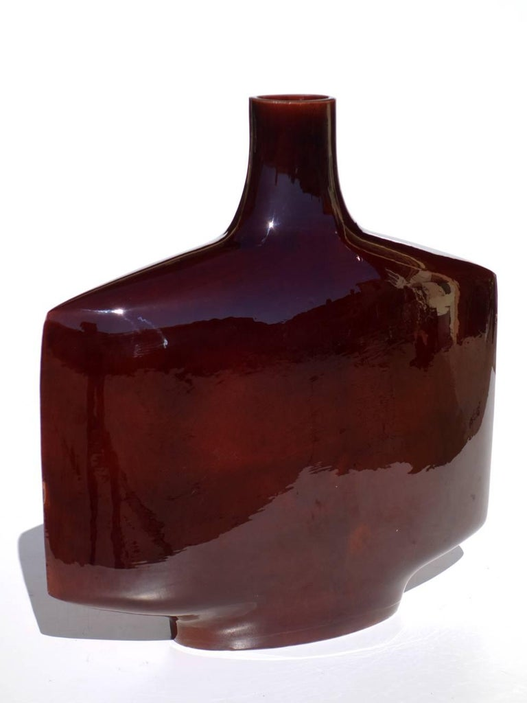 1950s by Gilbert Portanier Vallauris France Glazed Ceramic Vase For Sale 1