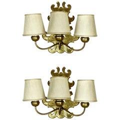 1950s by Gino Sarfatti for Arteluce Midcentury Italian Design Pair of Wall Lamps