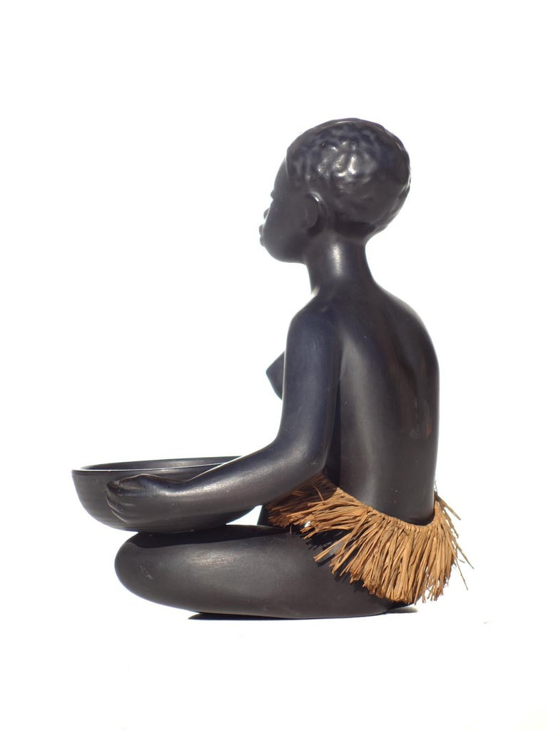 Mid-Century Modern 1950s by Leopold Anzengruber African Woman Vienna Figure For Sale