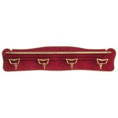 1950s by Paolo Buffa Italian Design Midcentury Brass and Velvet Wall Coat Rack