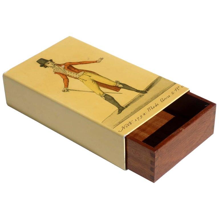 1950s by Piero Fornasetti Midcentury Italian Design Metal Box For Sale