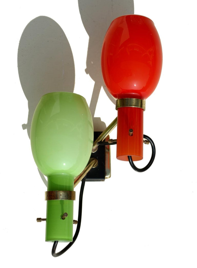 Red and green glass and brass details. Perfect condition Perfect working order.