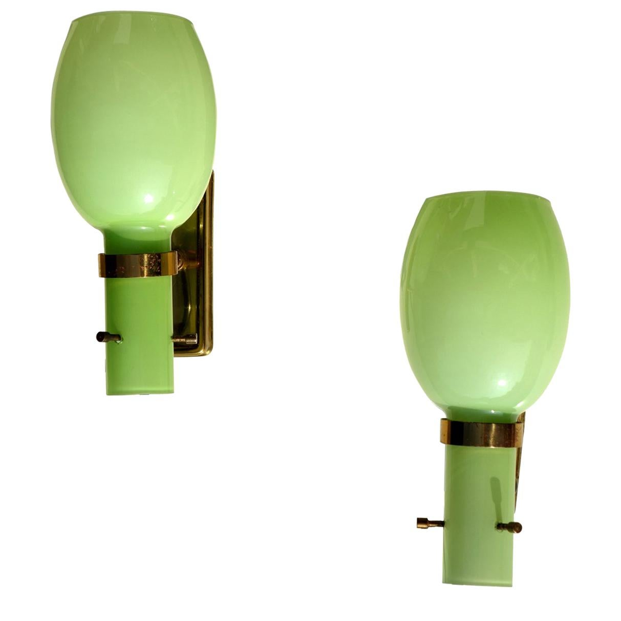 1950s by Stilnovo Italian Midcentury Design Pair of Wall Lamps