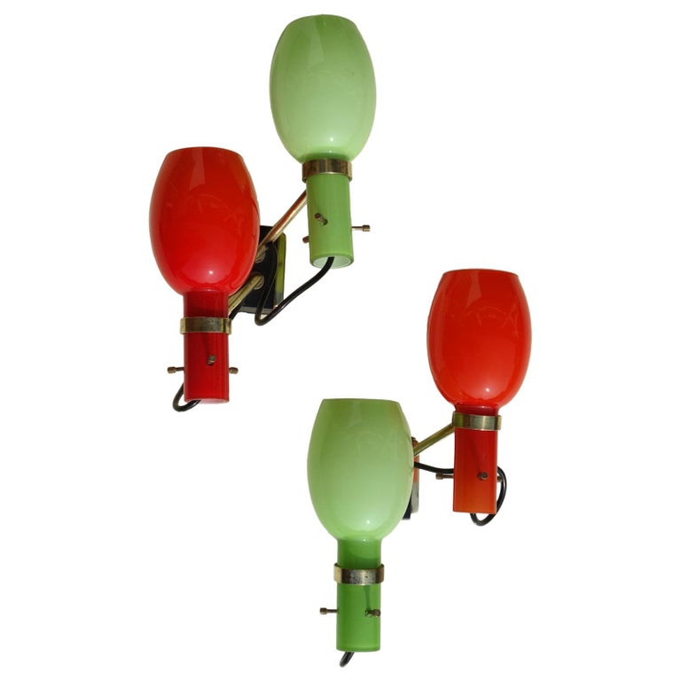 1950s by Stilnovo Italian Midcentury Design Pair of Wall Lamps For Sale