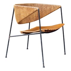 1950s Cabin Modern Rustic Iron Slat Chair Arthur Umanoff Shaver Howard Raymor