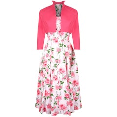 1950s California Cottons Pink Floral Rose Print Cotton Dress with Bolero Jacket